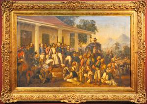 """Lukisan """"Penangkapan Pemimpin Jawa Diponegoro"""" karya Raden Saleh. Foto: Micha Rainer Pali©Historia."""
