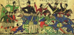 Sketsa pertempuran pengikut Diponegoro dengan serdadu Belanda di Selarong pada September atau Oktober 1825. Foto: Repro buku Takdir: Riwayat Pangeran Diponegoro (1785-1855) karya Peter Carey.